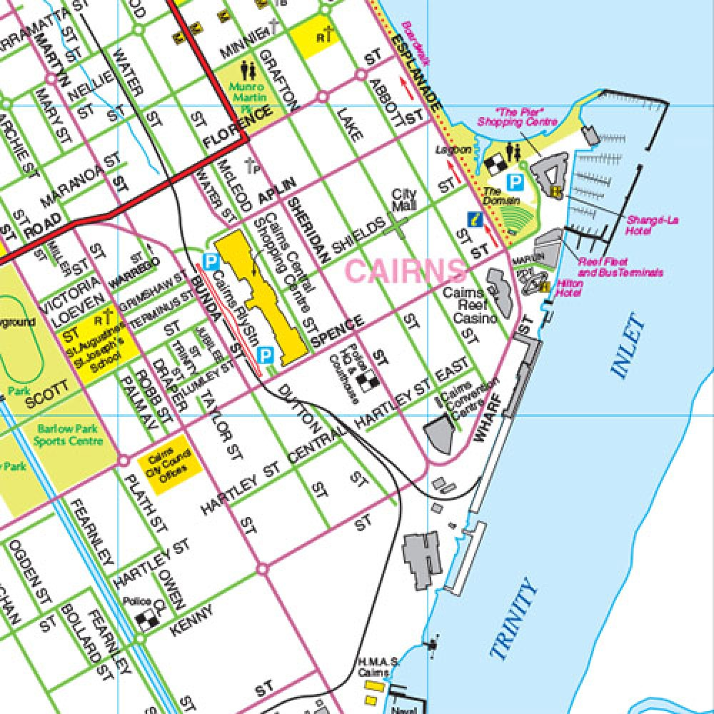 Karte Australien Und Umgebung.Stadtplan Cairns Umgebung Cairns Region Stadtplane Regional Cities