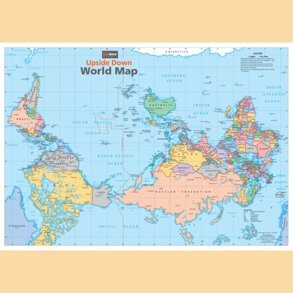 Stumme Karte Orient.Weltkarte Auf Dem Kopf Upside Down World Map Landkarte