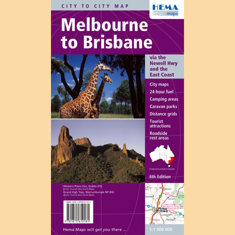 Brisbane And Melbourne: Melbourne To Brisbane (City To City Map / Landkarte